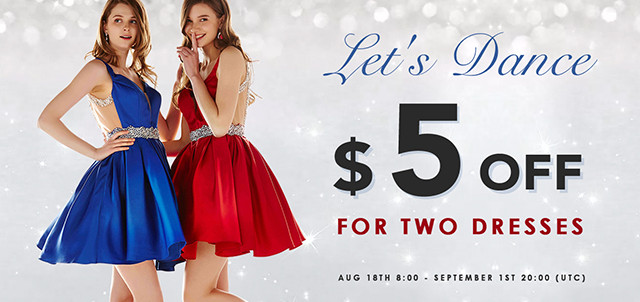 5USD off for two homecoming dresses.