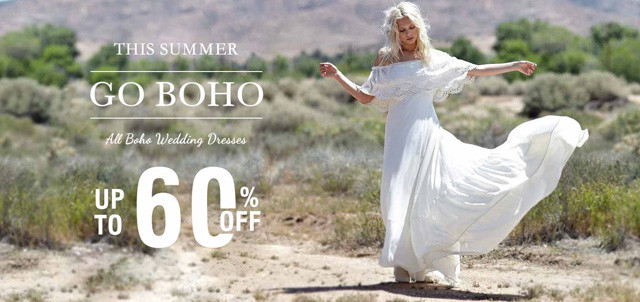 Boho Wedding Dresses up to 60% Off